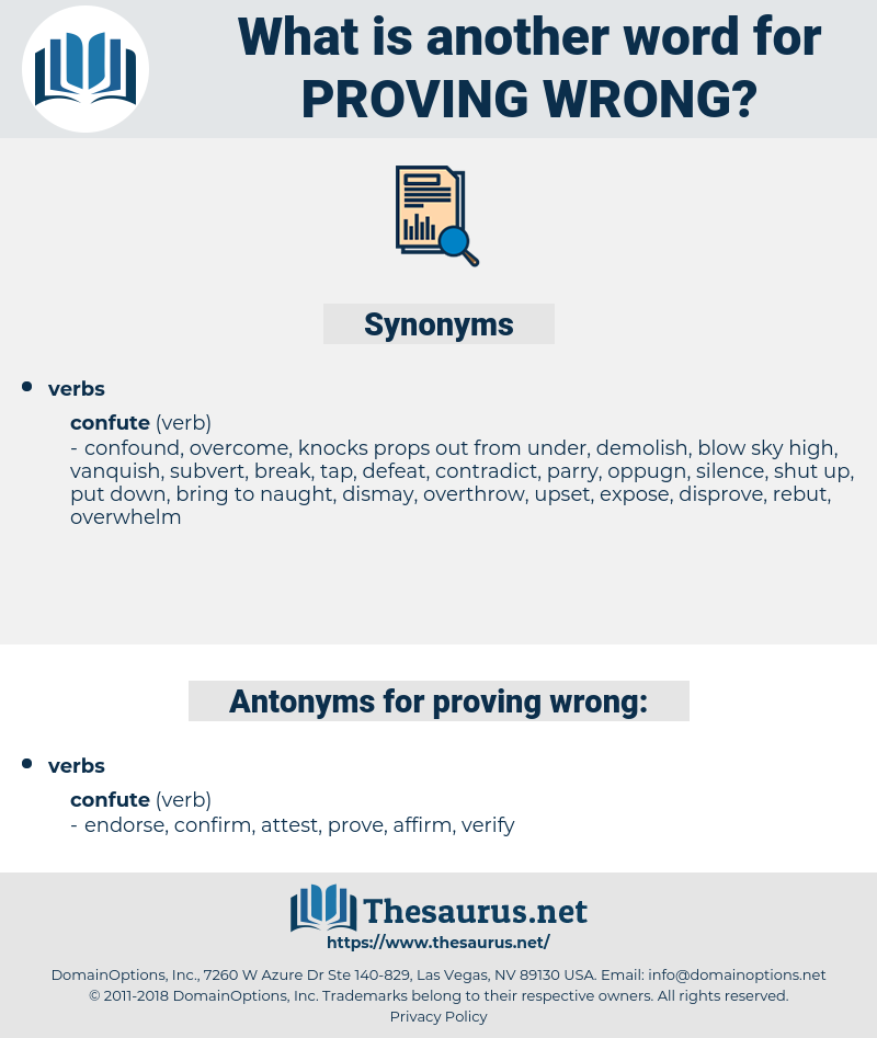 proving wrong, synonym proving wrong, another word for proving wrong, words like proving wrong, thesaurus proving wrong