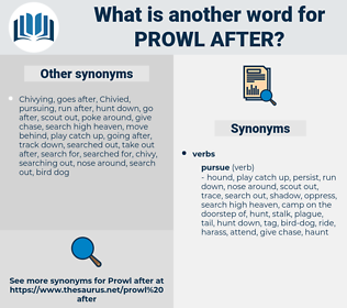 prowl after, synonym prowl after, another word for prowl after, words like prowl after, thesaurus prowl after