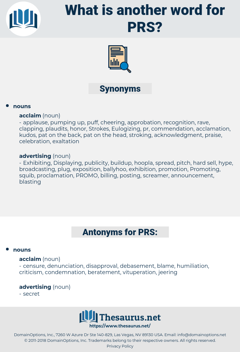 PRS, synonym PRS, another word for PRS, words like PRS, thesaurus PRS