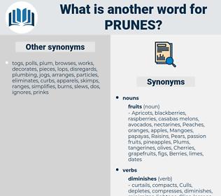 prunes, synonym prunes, another word for prunes, words like prunes, thesaurus prunes
