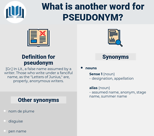pseudonym, synonym pseudonym, another word for pseudonym, words like pseudonym, thesaurus pseudonym