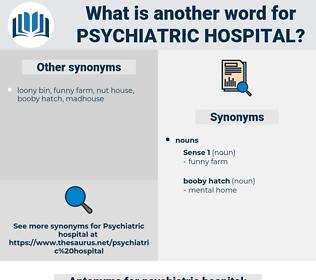 psychiatric hospital, synonym psychiatric hospital, another word for psychiatric hospital, words like psychiatric hospital, thesaurus psychiatric hospital
