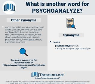 psychoanalyze, synonym psychoanalyze, another word for psychoanalyze, words like psychoanalyze, thesaurus psychoanalyze