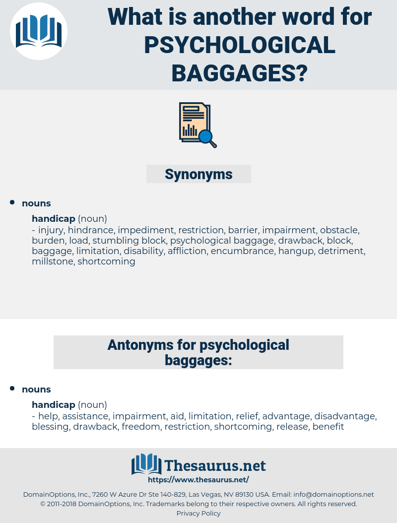 psychological baggages, synonym psychological baggages, another word for psychological baggages, words like psychological baggages, thesaurus psychological baggages