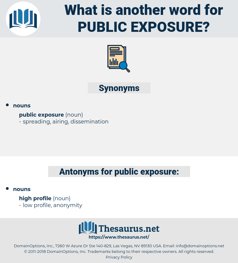 public exposure, synonym public exposure, another word for public exposure, words like public exposure, thesaurus public exposure