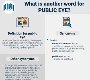 public eye, synonym public eye, another word for public eye, words like public eye, thesaurus public eye