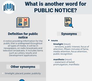 public notice, synonym public notice, another word for public notice, words like public notice, thesaurus public notice