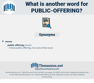 public offering, synonym public offering, another word for public offering, words like public offering, thesaurus public offering