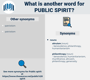 public spirit, synonym public spirit, another word for public spirit, words like public spirit, thesaurus public spirit