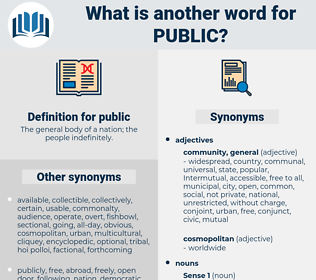 public, synonym public, another word for public, words like public, thesaurus public