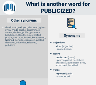 publicized, synonym publicized, another word for publicized, words like publicized, thesaurus publicized