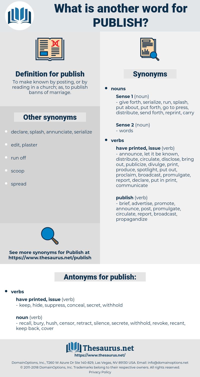 publish, synonym publish, another word for publish, words like publish, thesaurus publish