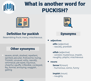 puckish, synonym puckish, another word for puckish, words like puckish, thesaurus puckish