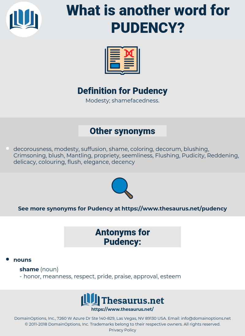 Pudency, synonym Pudency, another word for Pudency, words like Pudency, thesaurus Pudency