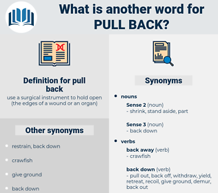 pull back, synonym pull back, another word for pull back, words like pull back, thesaurus pull back