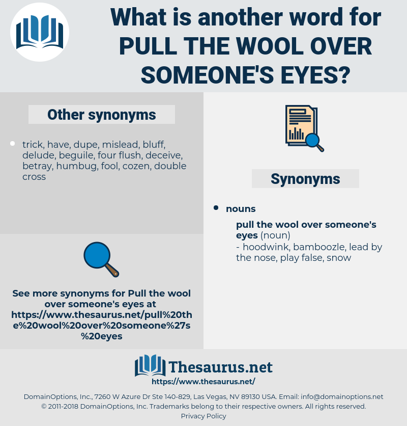 pull the wool over someone's eyes, synonym pull the wool over someone's eyes, another word for pull the wool over someone's eyes, words like pull the wool over someone's eyes, thesaurus pull the wool over someone's eyes
