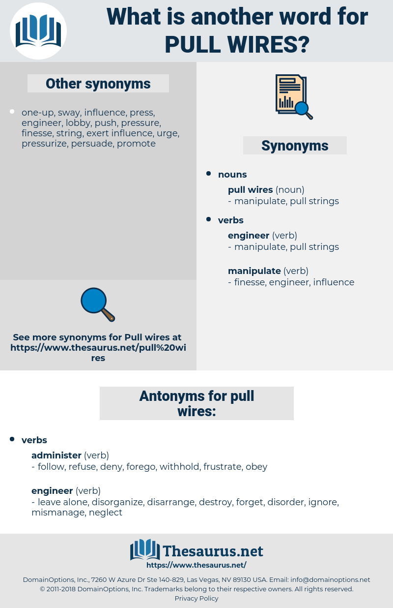 pull wires, synonym pull wires, another word for pull wires, words like pull wires, thesaurus pull wires