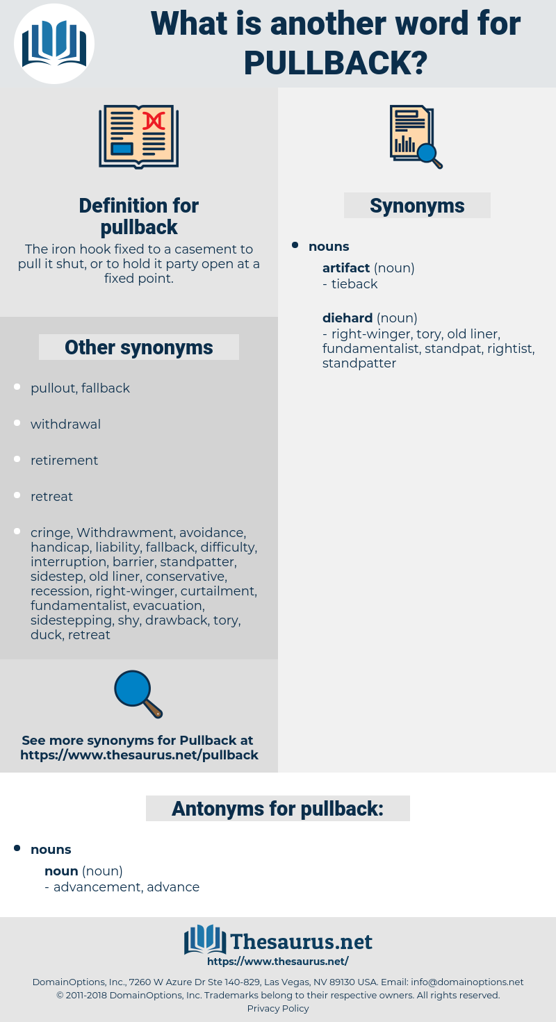 pullback, synonym pullback, another word for pullback, words like pullback, thesaurus pullback