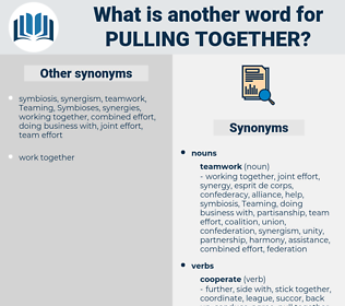 pulling together, synonym pulling together, another word for pulling together, words like pulling together, thesaurus pulling together