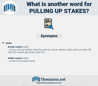 pulling up stakes, synonym pulling up stakes, another word for pulling up stakes, words like pulling up stakes, thesaurus pulling up stakes