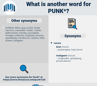 punk, synonym punk, another word for punk, words like punk, thesaurus punk