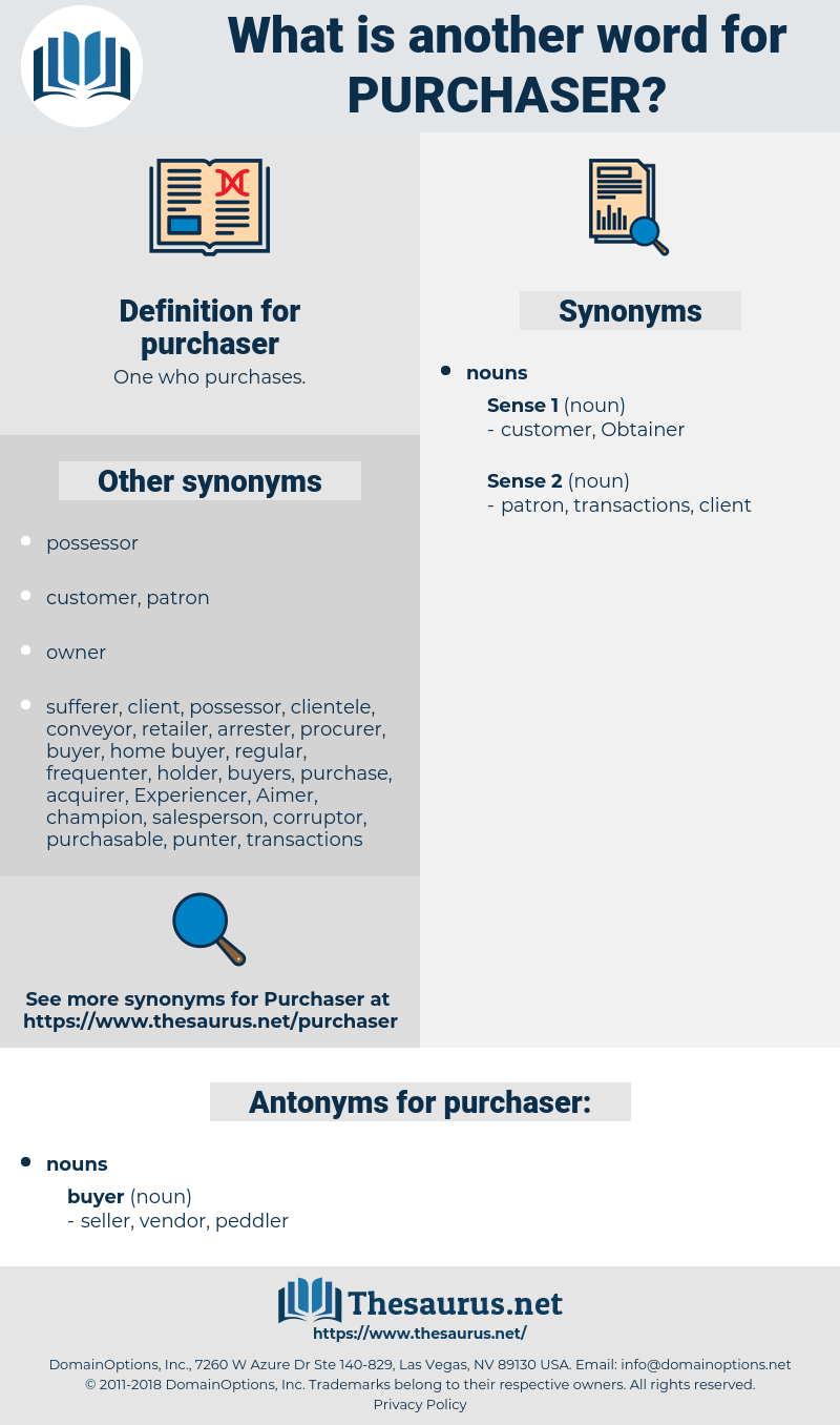 purchaser, synonym purchaser, another word for purchaser, words like purchaser, thesaurus purchaser