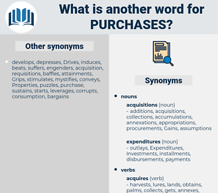 purchases, synonym purchases, another word for purchases, words like purchases, thesaurus purchases