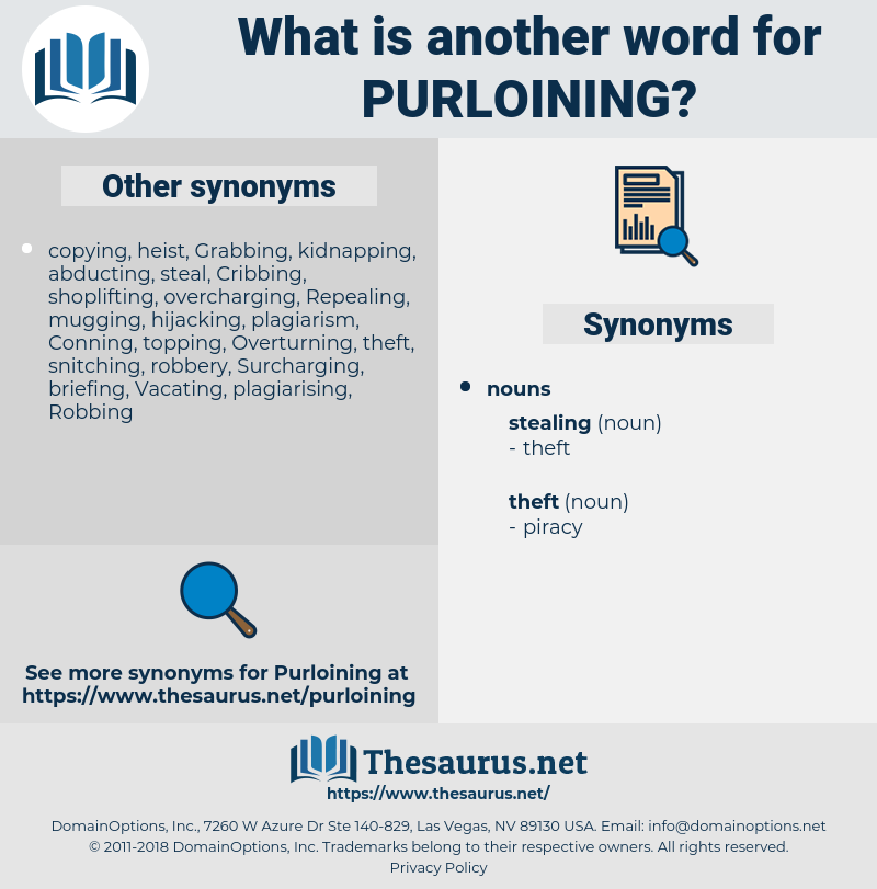 Purloining, synonym Purloining, another word for Purloining, words like Purloining, thesaurus Purloining