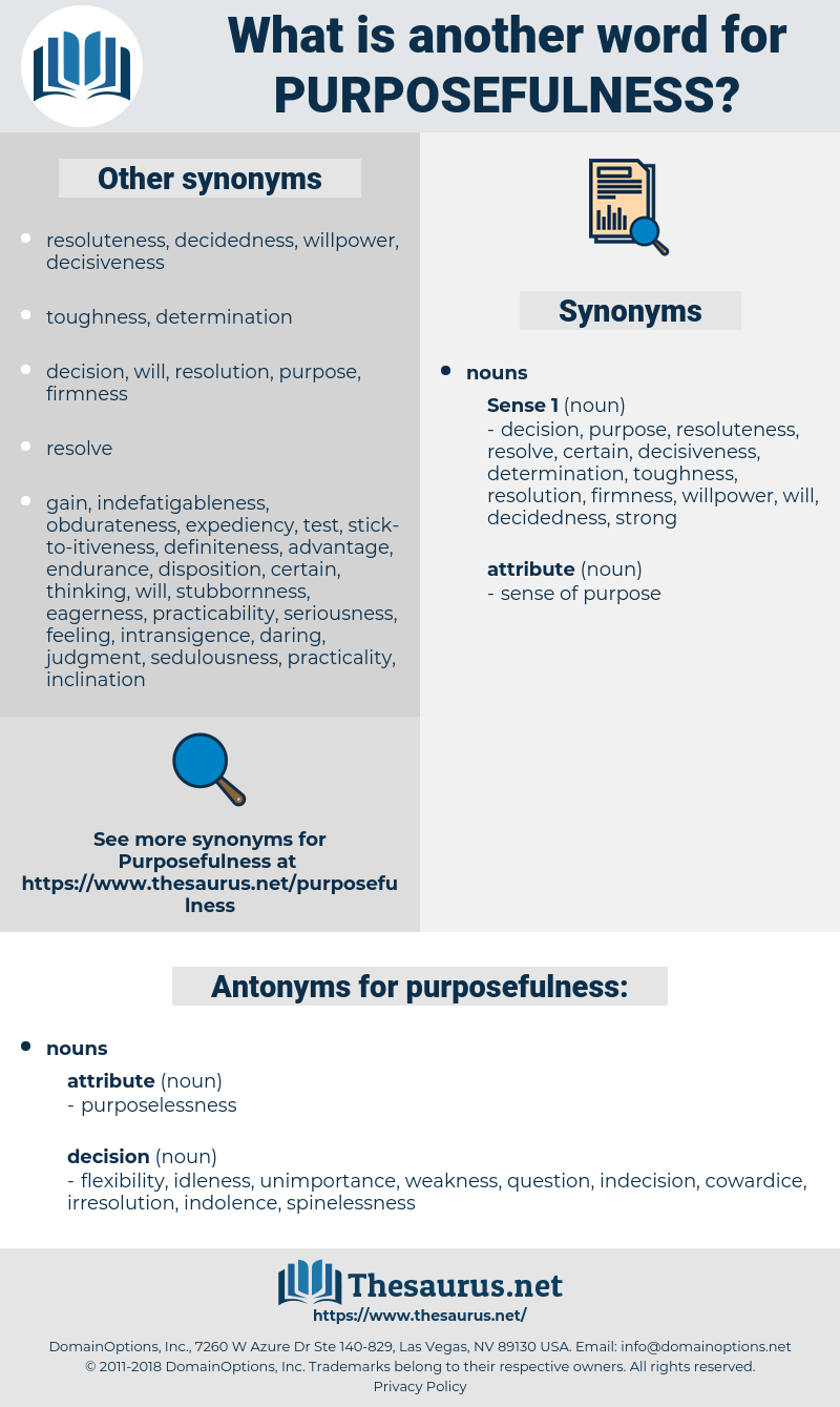 purposefulness, synonym purposefulness, another word for purposefulness, words like purposefulness, thesaurus purposefulness