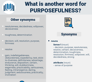 purposefulness, synonym purposefulness, another word for purposefulness, words like purposefulness, thesaurus purposefulness