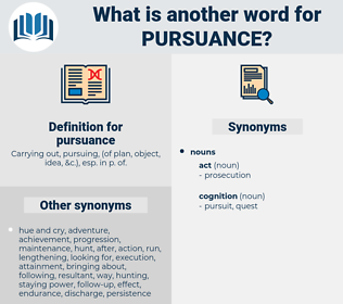 pursuance, synonym pursuance, another word for pursuance, words like pursuance, thesaurus pursuance