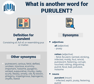 purulent, synonym purulent, another word for purulent, words like purulent, thesaurus purulent