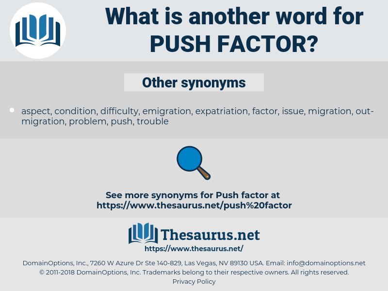 Synonyms for PUSH FACTOR - Thesaurus net