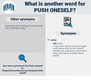 push oneself, synonym push oneself, another word for push oneself, words like push oneself, thesaurus push oneself