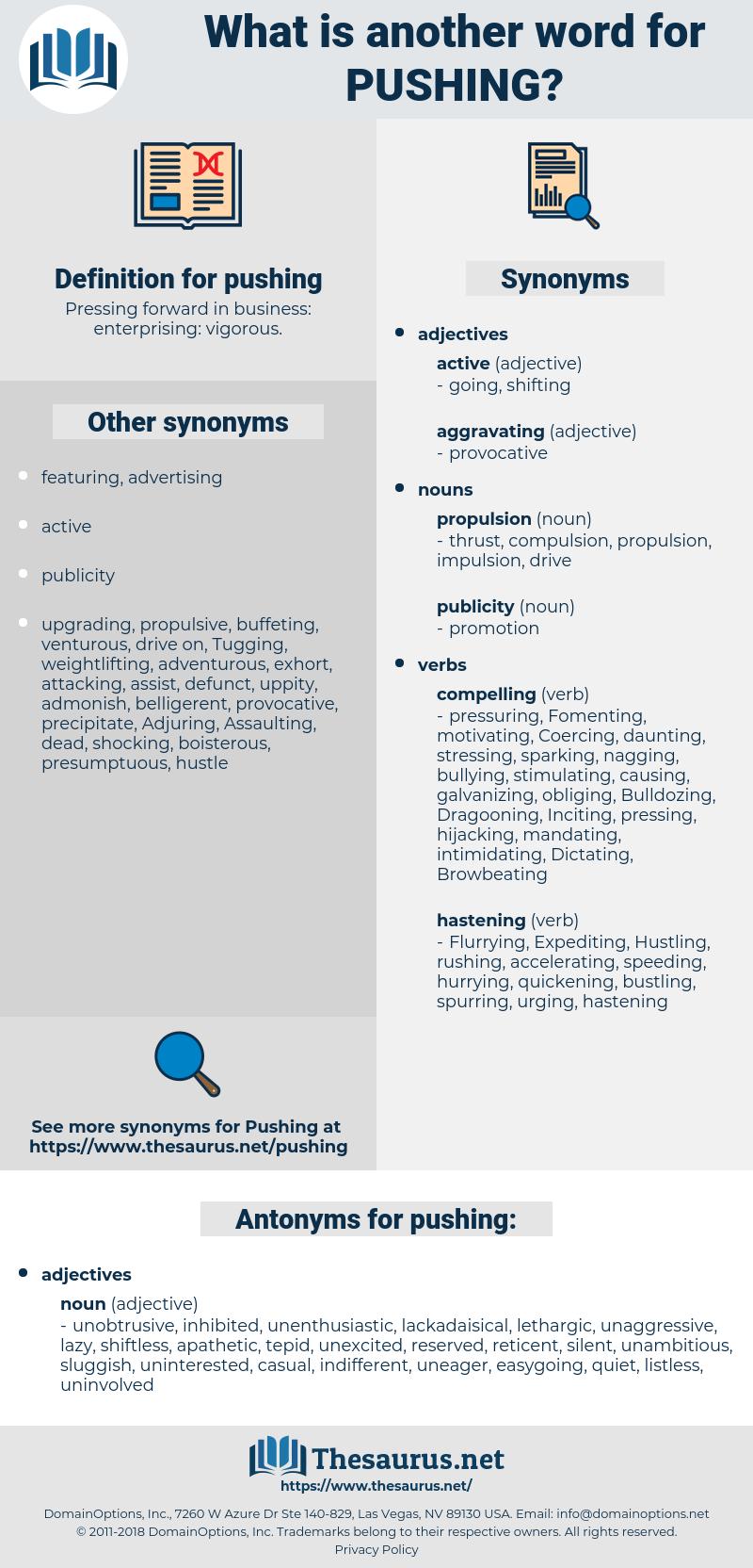 pushing, synonym pushing, another word for pushing, words like pushing, thesaurus pushing