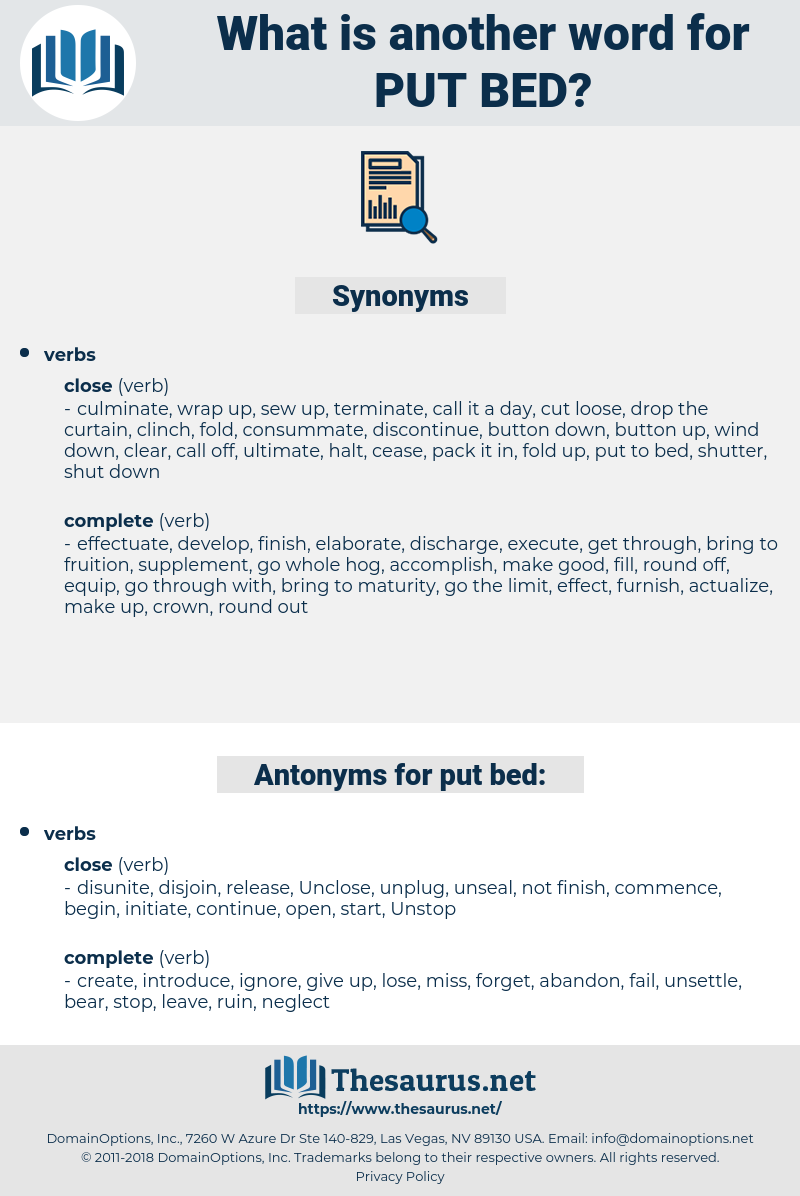 put bed, synonym put bed, another word for put bed, words like put bed, thesaurus put bed