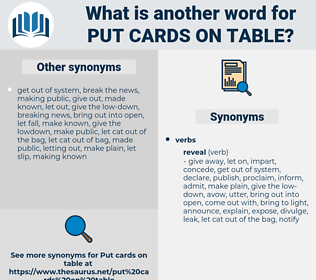 put cards on table, synonym put cards on table, another word for put cards on table, words like put cards on table, thesaurus put cards on table