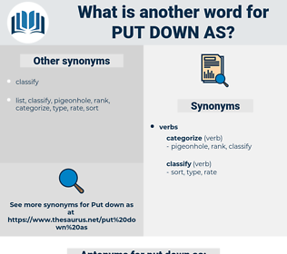 put down as, synonym put down as, another word for put down as, words like put down as, thesaurus put down as