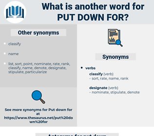 put down for, synonym put down for, another word for put down for, words like put down for, thesaurus put down for