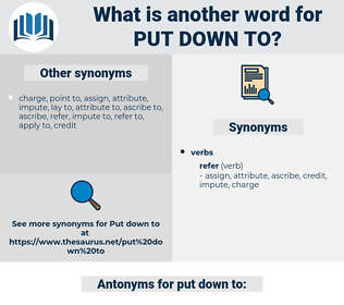 put down to, synonym put down to, another word for put down to, words like put down to, thesaurus put down to