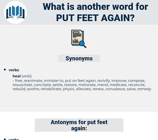 put feet again, synonym put feet again, another word for put feet again, words like put feet again, thesaurus put feet again