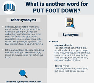 put foot down, synonym put foot down, another word for put foot down, words like put foot down, thesaurus put foot down