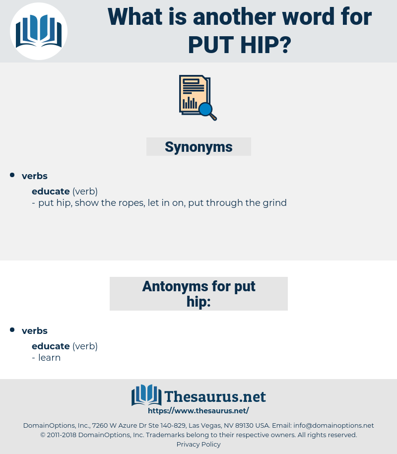 put hip, synonym put hip, another word for put hip, words like put hip, thesaurus put hip