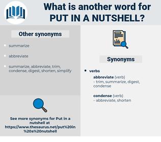 put in a nutshell, synonym put in a nutshell, another word for put in a nutshell, words like put in a nutshell, thesaurus put in a nutshell
