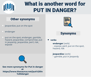 put in danger, synonym put in danger, another word for put in danger, words like put in danger, thesaurus put in danger