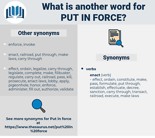 put in force, synonym put in force, another word for put in force, words like put in force, thesaurus put in force