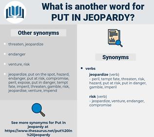put in jeopardy, synonym put in jeopardy, another word for put in jeopardy, words like put in jeopardy, thesaurus put in jeopardy