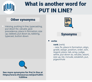put in line, synonym put in line, another word for put in line, words like put in line, thesaurus put in line