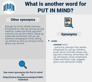 put in mind, synonym put in mind, another word for put in mind, words like put in mind, thesaurus put in mind