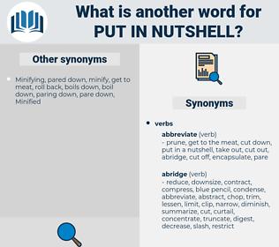put in nutshell, synonym put in nutshell, another word for put in nutshell, words like put in nutshell, thesaurus put in nutshell